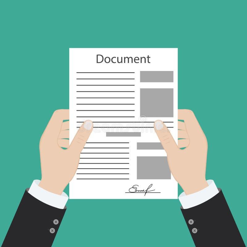 Übergeben Sie das Führen eines Dokuments und eine andere Hand, die einen Stift hält Unterzeichnen einer Vereinbarung Personengese lizenzfreie abbildung