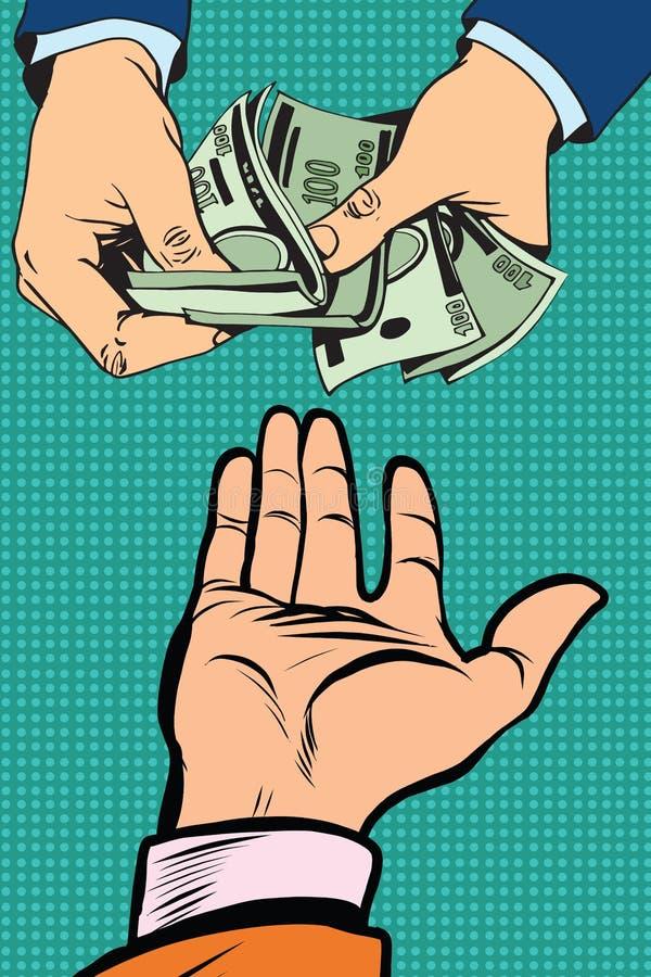 Übergeben Sie das Geben des Geldes stock abbildung