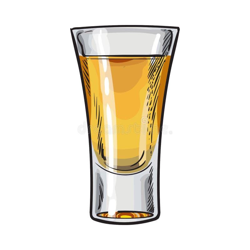 Übergeben Sie das gezogene Glas, das vom Goldtequila, lokalisierte Vektorillustration voll ist vektor abbildung