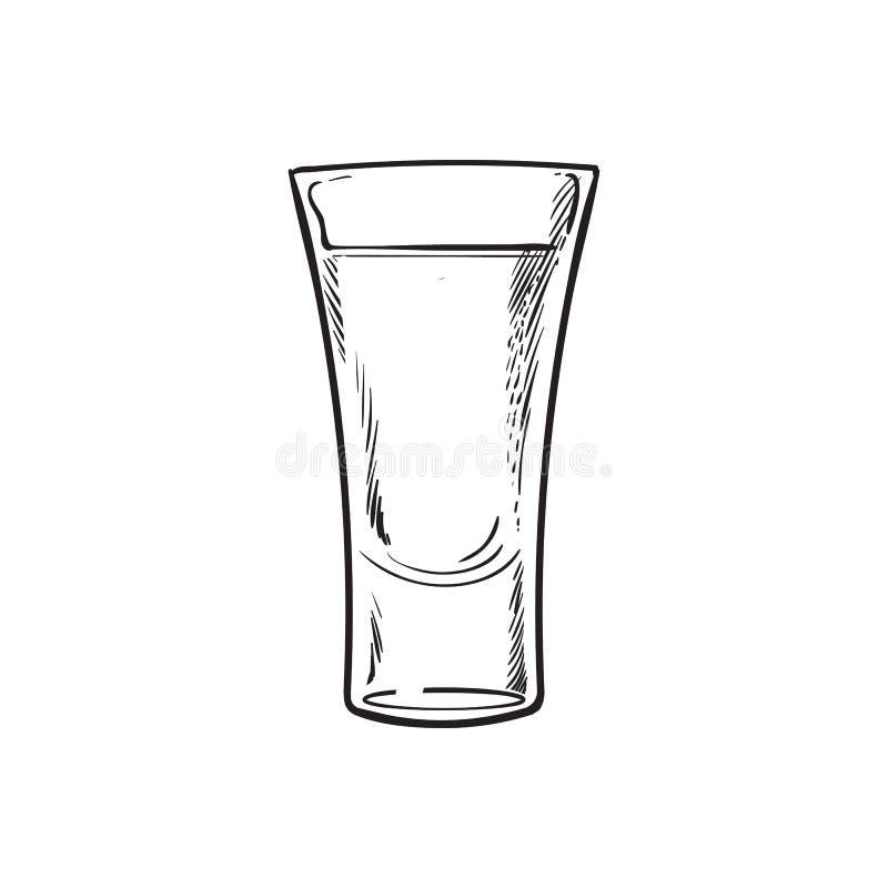 Übergeben Sie das gezogene Glas, das vom Tequila, lokalisierte Vektorillustration voll ist vektor abbildung