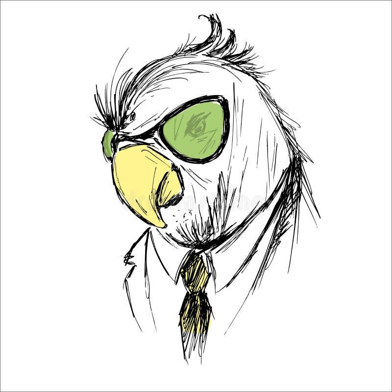 Übergeben Sie das gezogene Mode-Porträt von Papagei Hippie lokalisiert auf Weiß vektor abbildung