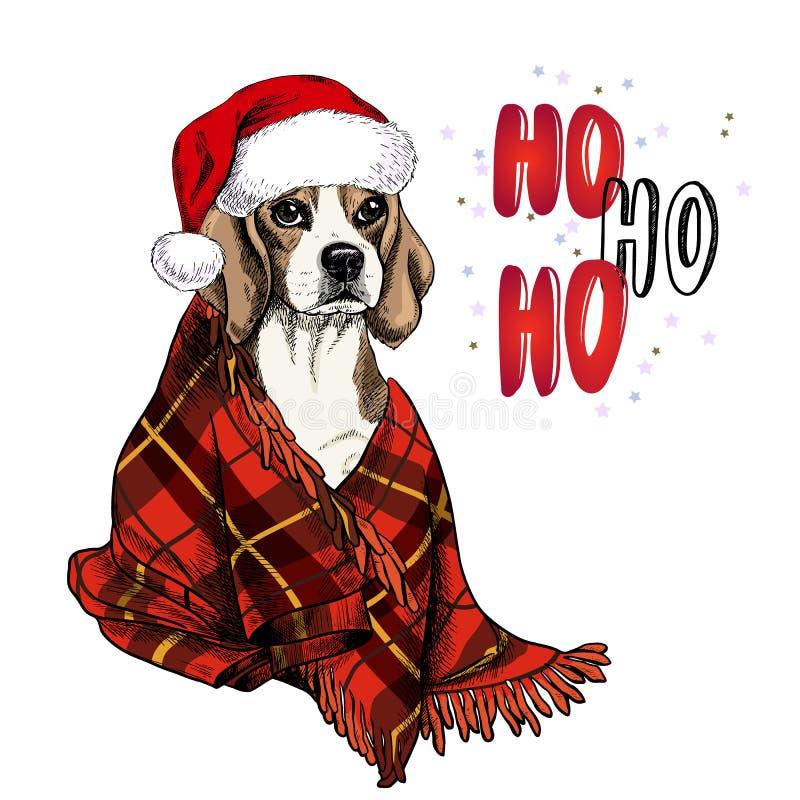 Übergeben Sie das gezogene Porträt des Spürhundhundes Sankt-Hut und Plaiddecke tragend Vektor-Weihnachtsplakat Ausführliche 3d üb lizenzfreie abbildung
