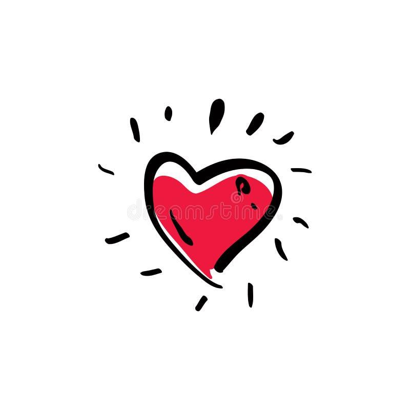 Übergeben Sie das gezogene rote Liebesvektorherz, das auf Weiß lokalisiert wird stock abbildung