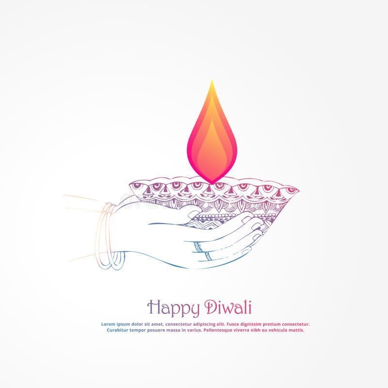 Übergeben Sie das Halten des brennenden diya, diwali Festivalhintergrund vektor abbildung