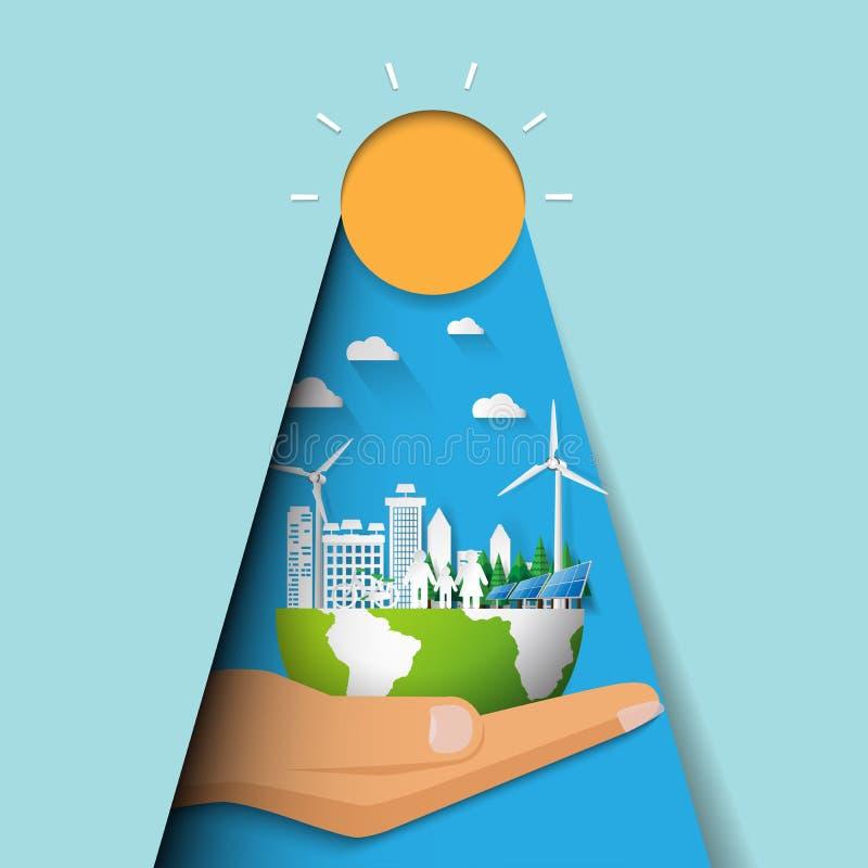 Übergeben Sie das Halten des eco Stadt- und Stadtbildkonzeptpapier-Schnittdesigns vektor abbildung