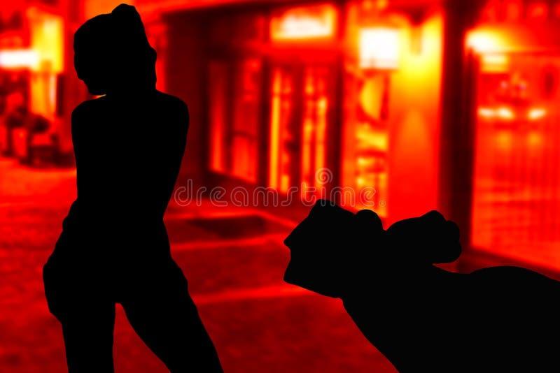 Übergeben Sie das Halten des Geldes und das Gehen zu einem jungen Mädchen, das auf den Straßen vor roten Fenstern steht lizenzfreie abbildung