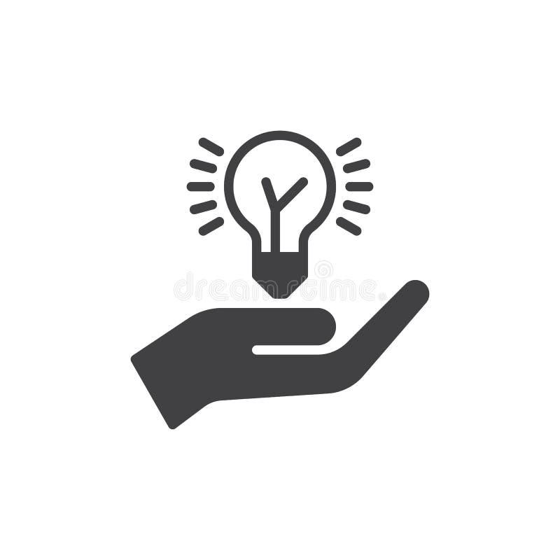 Übergeben Sie das Halten des Ideenbirnen-Ikonenvektors, gefülltes flaches Zeichen, das feste Piktogramm, das auf Weiß lokalisiert stock abbildung