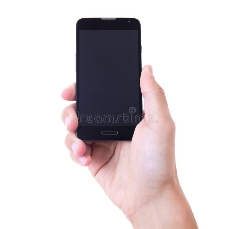 Übergeben Sie das Halten des intelligenten Mobiltelefons mit dem leeren Bildschirm, der auf wh lokalisiert wird stockbilder