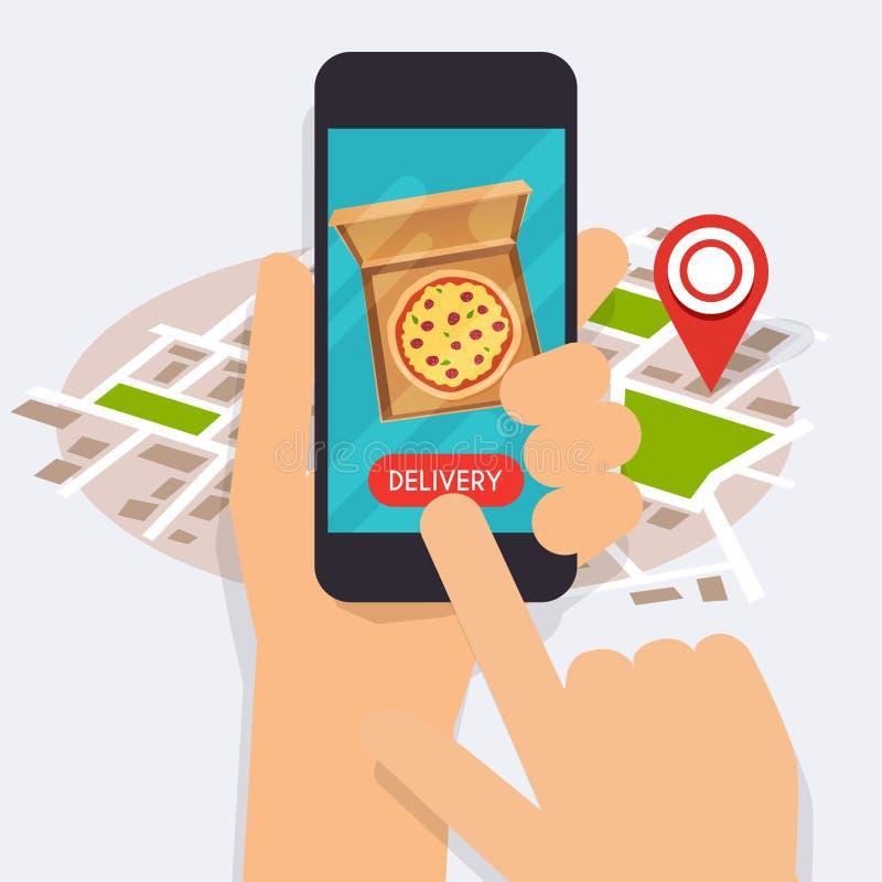 Übergeben Sie das Halten des intelligenten Mobiltelefons mit Lieferungslebensmittel-APP Bestellung FO stock abbildung