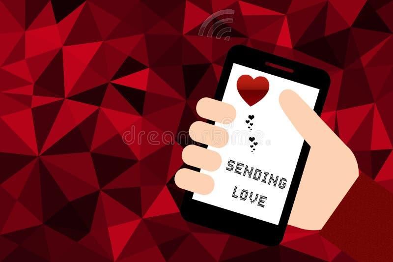 Übergeben Sie das Halten des intelligenten Telefons über rotem niedrigem Polyhintergrund stock abbildung