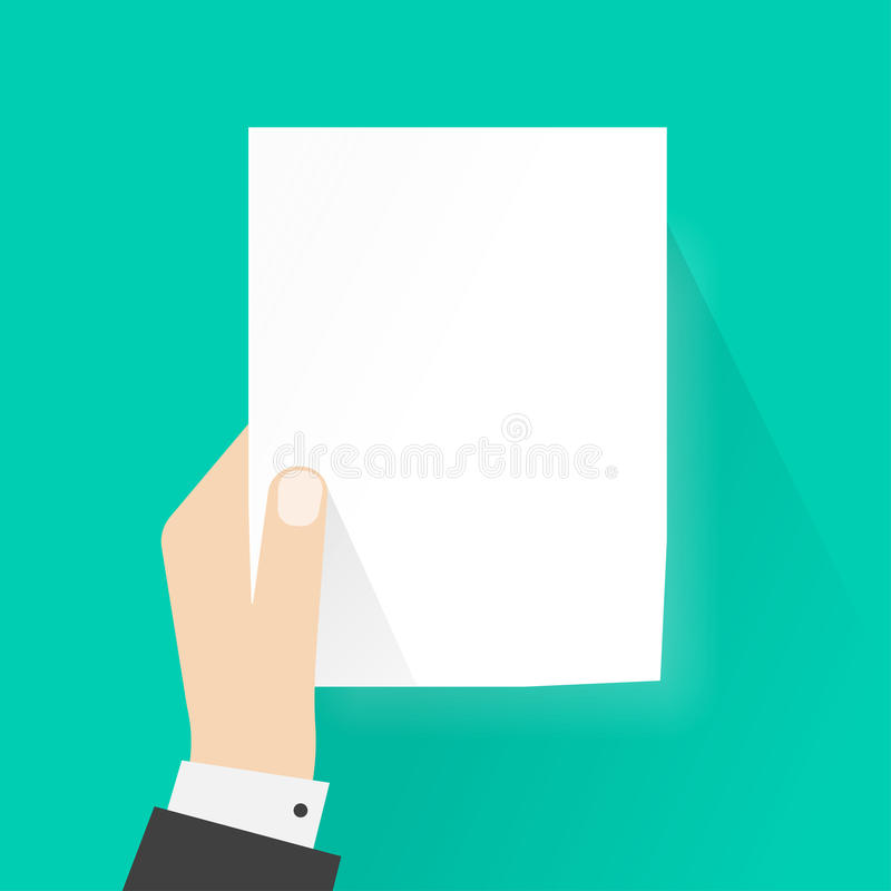 Übergeben Sie das Halten des Papiermodells leere Vektorillustration, Leerbeleg a4 lizenzfreie abbildung