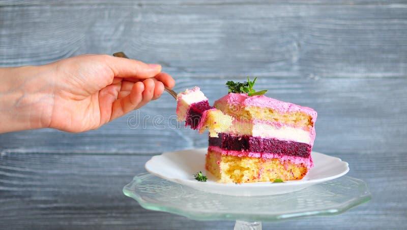 Übergeben Sie das Halten einer Gabel mit einer Scheibe des Kuchens, zerspaltet von einem Stück des Kuchens und aus Rosa, Weiß, Sa lizenzfreie stockbilder