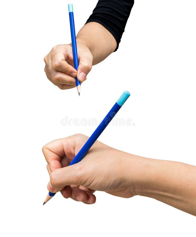 Übergeben Sie das Halten eines Bleistifts lokalisiert auf weißem Hintergrund stockbild