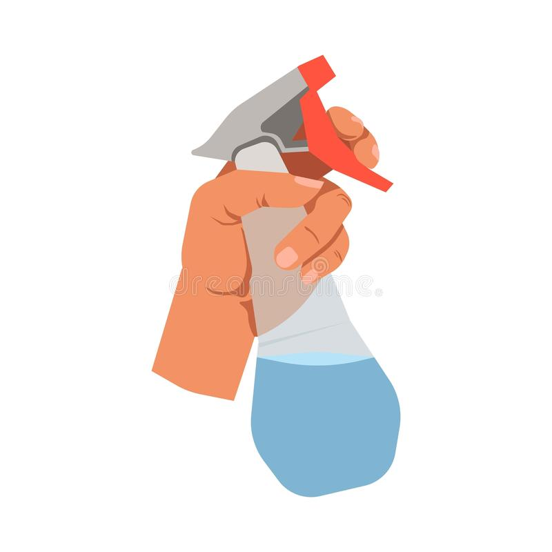 Übergeben Sie das Halten Glasder lokalisierten Ikone des reinigerspray-Vektors Ebene stock abbildung