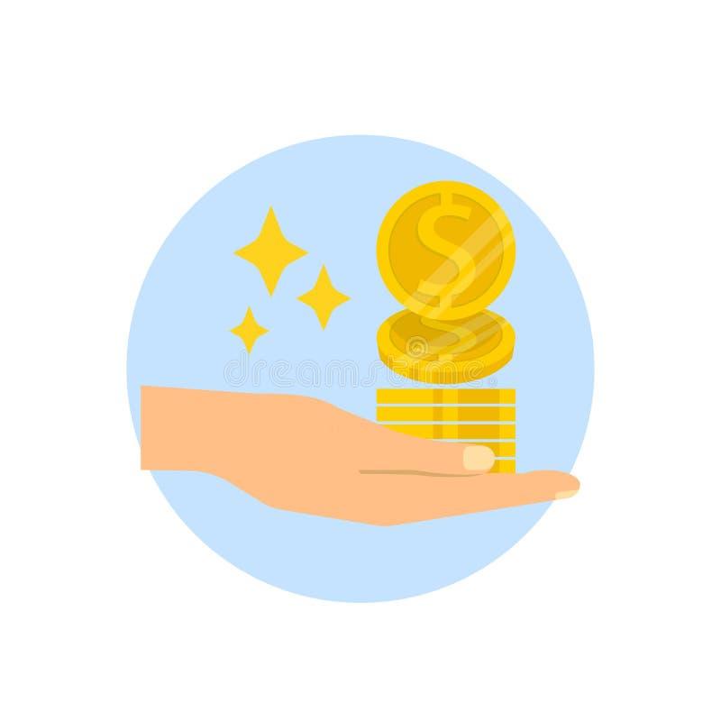 Übergeben Sie das Halten von Goldmünzen lokalisiert auf weißem Hintergrund Investitionsgeldfinanzierung Flache Ikone des Vektors stock abbildung