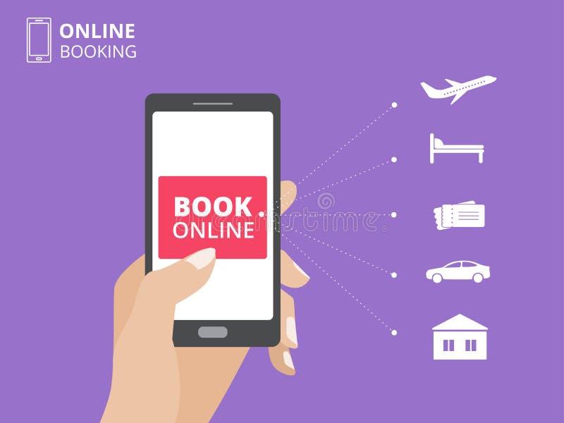 Übergeben Sie das Halten von Smartphone mit Buchknopf auf Schirm On-line-AnmeldungsKonzept des Entwurfes Hotel, Flug, Auto, Karte vektor abbildung