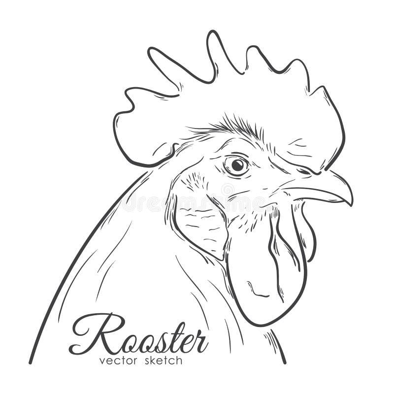 Übergeben Sie das Zeichnungsprofil des Hahnes lokalisiert auf weißem Hintergrund Zeile Auslegung Hahnskizze vektor abbildung