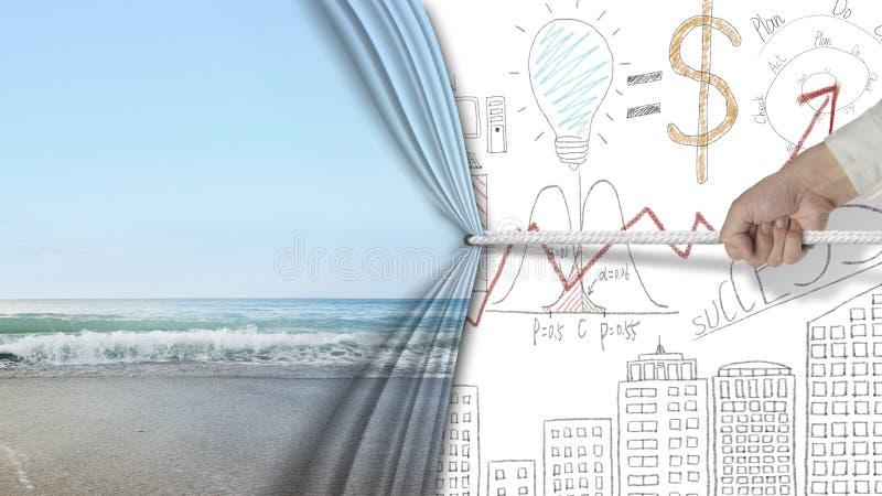 Übergeben Sie das Ziehen des natürlicher umfassten Geschäftsdiagramms des sandigen Strandes Vorhang lizenzfreies stockbild