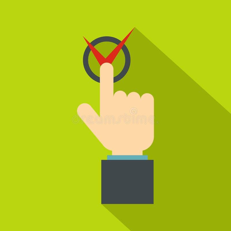 Übergeben Sie den Finger, der Knopf mit roter Zeckenikone drückt stock abbildung