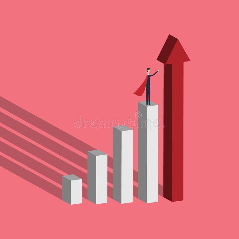 übergeben Sie den Holdingbleistift, platziert auf grafische Diagramme Geschäftsmannsuperheld mit steigendem Pfeil als Symbol der  stock abbildung