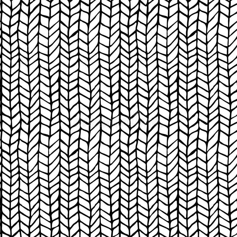 Übergeben Sie die gezogene Musterbeschaffenheit, die das nahtlose Monochrom wiederholt, Schwarzweiss Vektor Stilvolles Modegekrit stock abbildung
