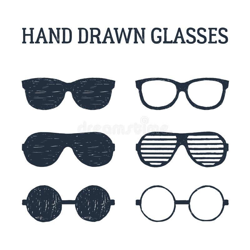 Übergeben Sie die gezogenen eingestellten Augenglas- und -Sonnenbrilleillustrationen vektor abbildung