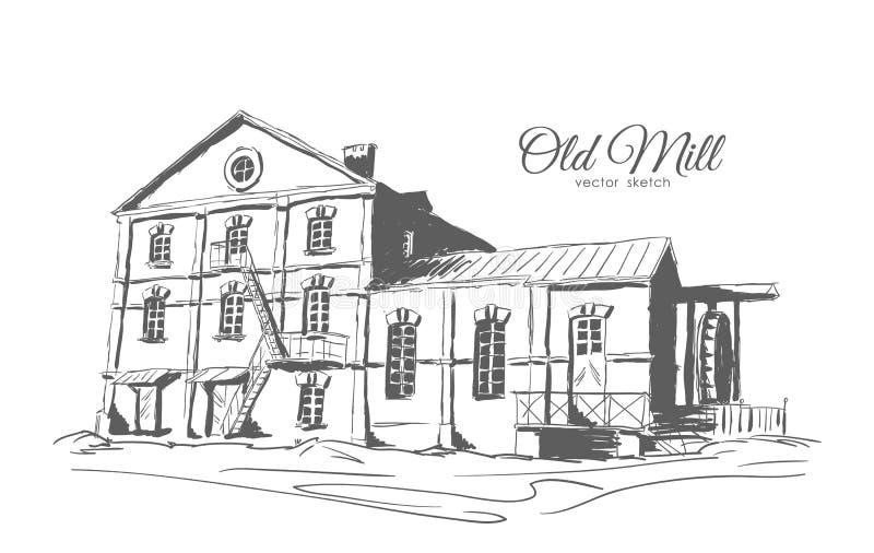 Übergeben Sie die zeichnende alte Wasser-Mühle, die auf weißem Hintergrund lokalisiert wird Entwurfs-Skizze vektor abbildung
