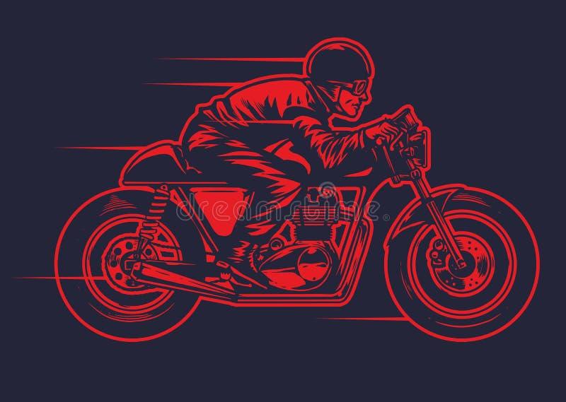 Übergeben Sie die Zeichnung des Mannes altes Caférennläufermotorrad reiten vektor abbildung