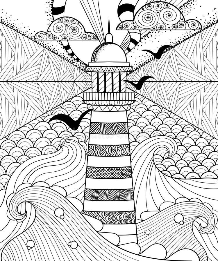 Übergeben Sie gezeichneten künstlerisch ethnischer Ornamental kopierten Leuchtturm w lizenzfreie abbildung