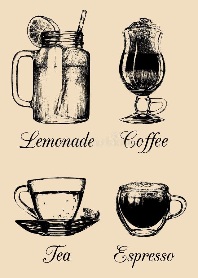 Übergeben Sie gezogene alkoholfreie Getränke, Limonade, Kaffee, Tee Vektorskizzenillustrationen stellten für Restaurant, Café, Ba stock abbildung