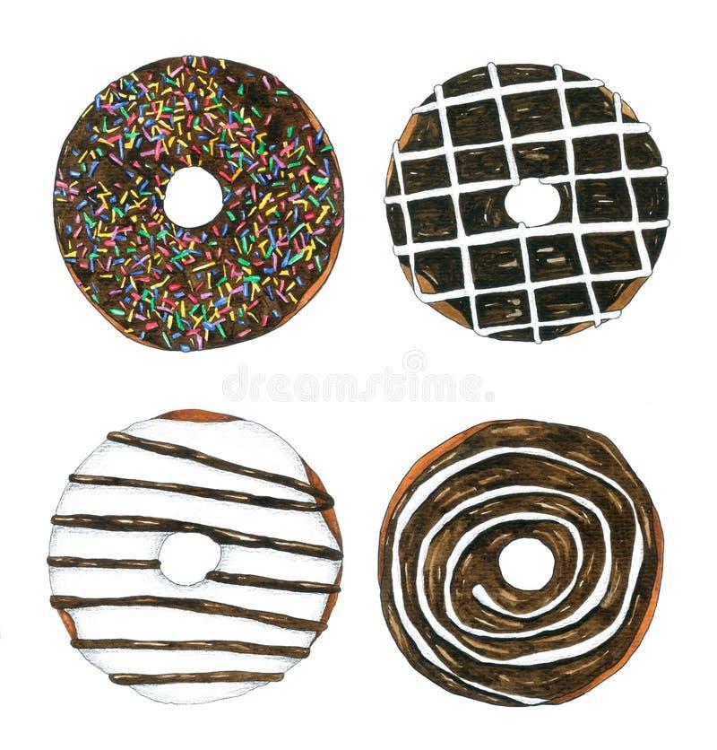 Übergeben Sie gezogene Aquarell-Schokoladen-Schaumgummiringe auf weißem Hintergrund für dekoratives und Design, das Muster und ve stock abbildung
