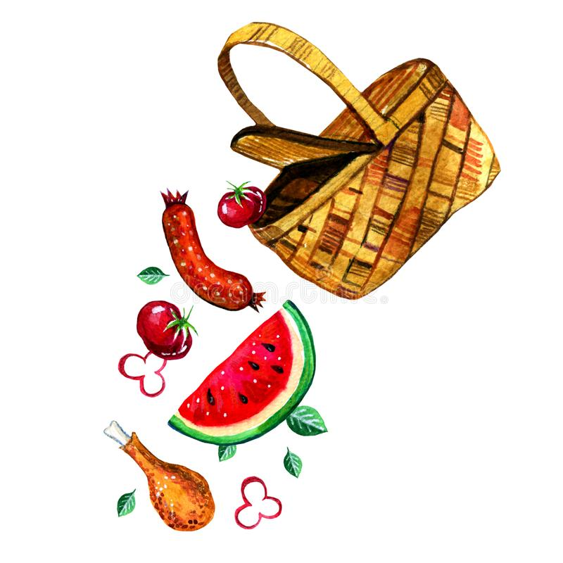 Übergeben Sie gezogene Aquarellillustration mit Korb und Lebensmittel für Picknick, den Sommer heraus essend und Grill vektor abbildung