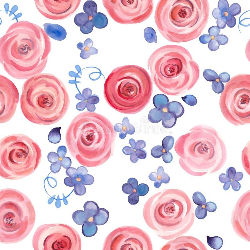 Übergeben Sie gezogene Aquarellrosen und nette kleine Blumen nahtloses Muster stock abbildung