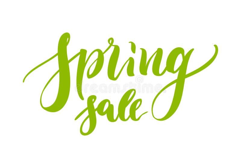Übergeben Sie gezogene Beschriftung, Frühlingsverkauf, das Grün, lokalisiert lizenzfreie abbildung