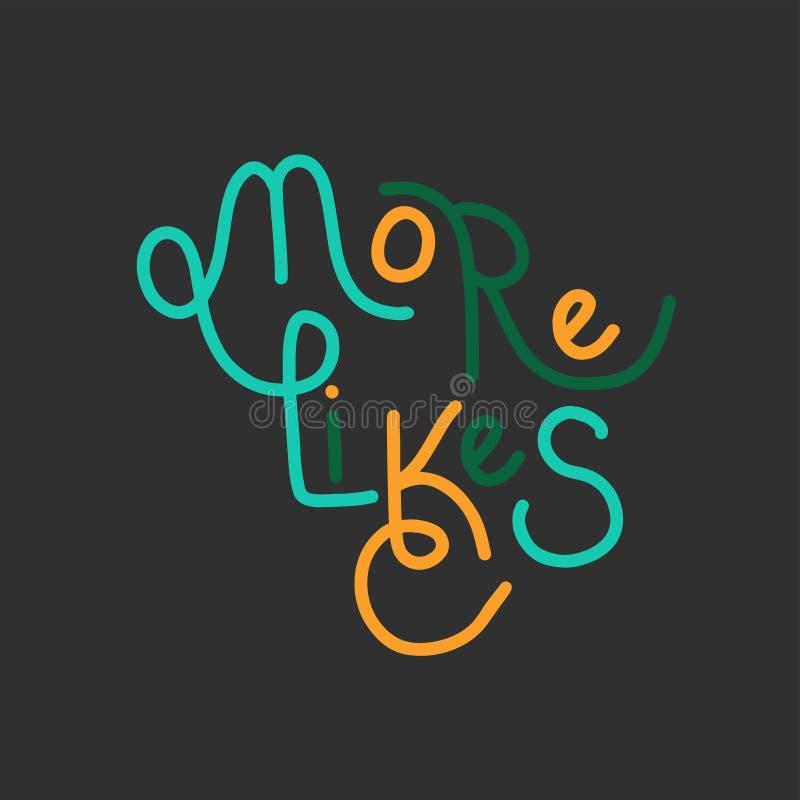 Übergeben Sie gezogene Beschriftung wie Zeit für Blog, Netz, Social Media Typografisches Zeichen mögen mehr lizenzfreie abbildung