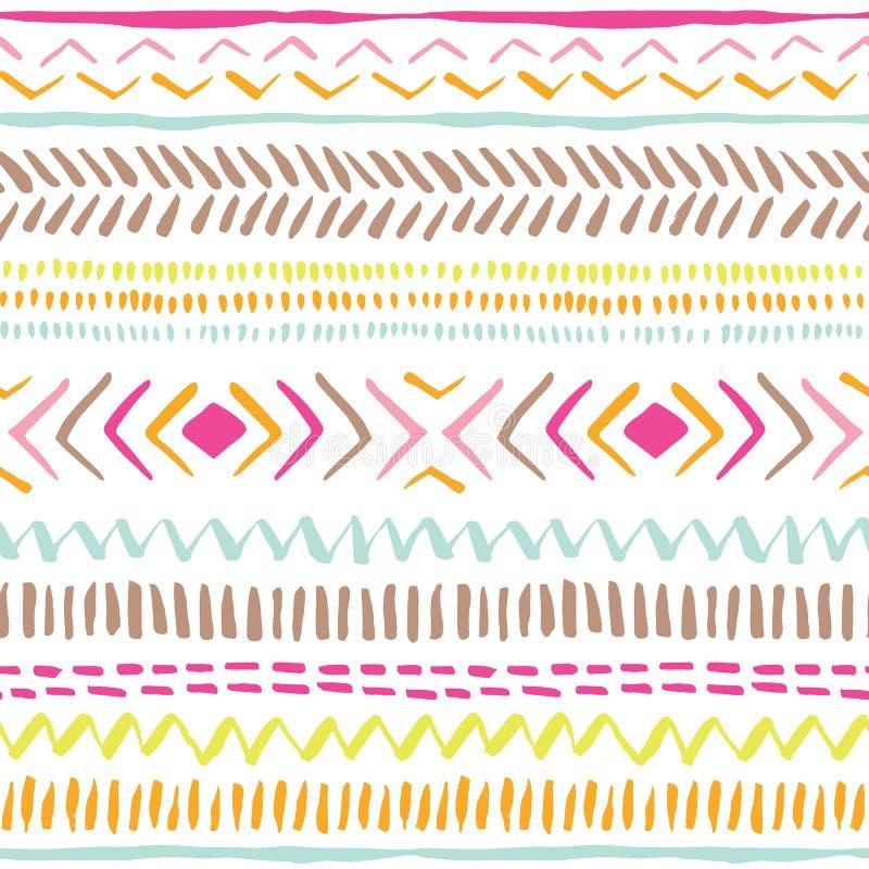 Übergeben Sie gezogene bunte Stammes- Linien, Streifen auf nahtlosem Muster des weißen Hintergrundvektors Frische abstrakte geome stock abbildung