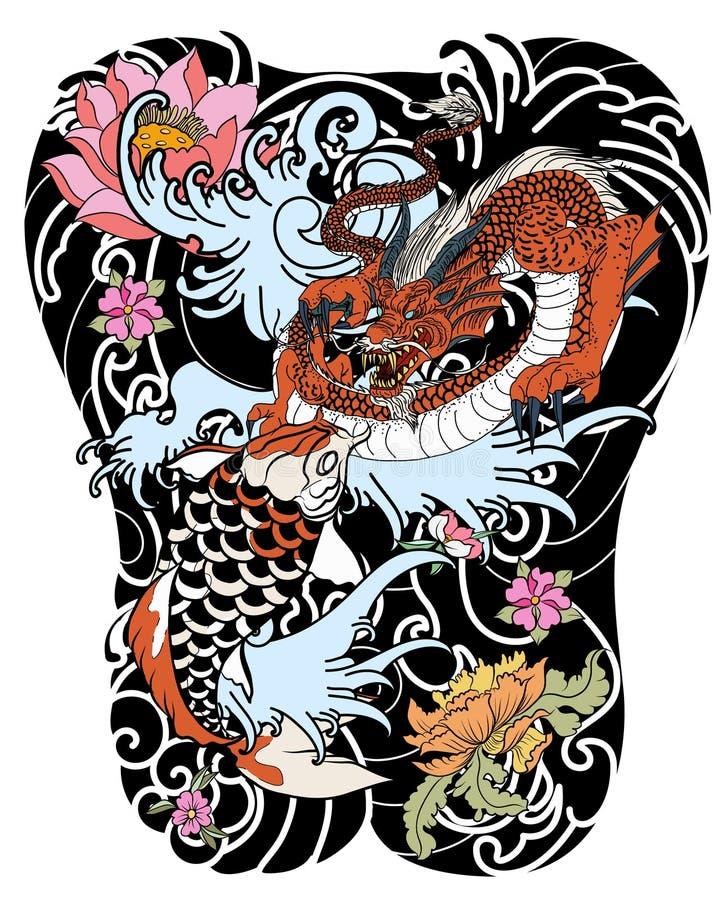 Übergeben Sie gezogene Drache- und koifische mit Blumentätowierung für Arm, japanisches Karpfen Federzeichnungsmalbuchvektorbild  stock abbildung