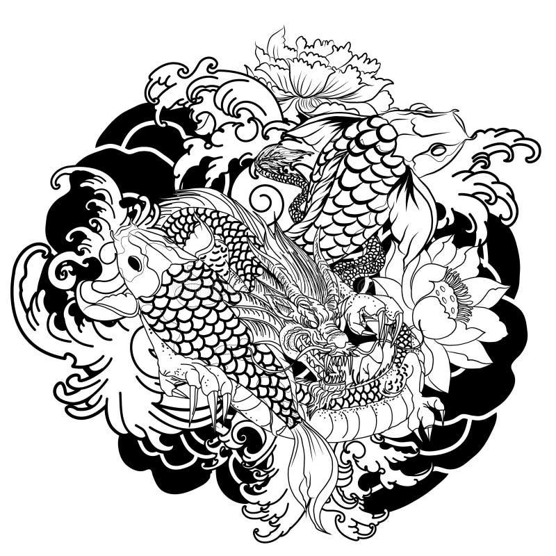 Übergeben Sie gezogene Drache- und koifische mit Blumentätowierung für Arm, japanisches Karpfen Federzeichnungsmalbuchvektorbild vektor abbildung