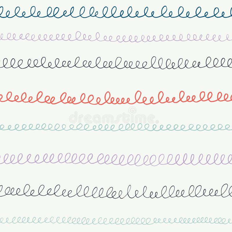 Übergeben Sie gezogene Gekritzel, Kalligraphieschleifen, Handschrift, Streifen, Linien Zurück zu nahtlosem Musterhintergrund des  lizenzfreie abbildung