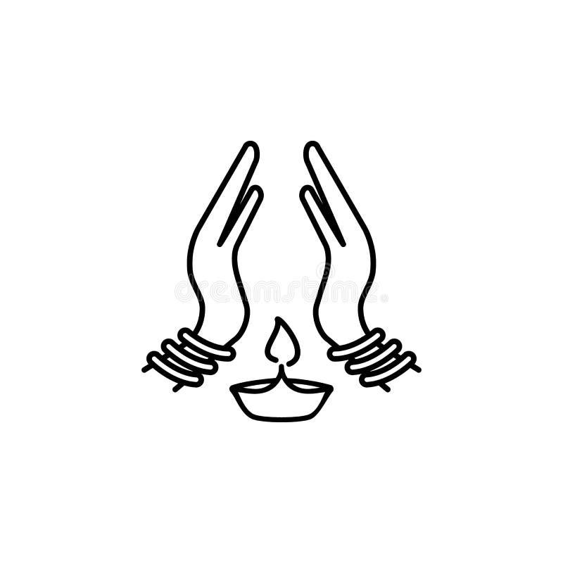 Übergeben Sie gezogene Hände in betender Position mit Diwali-Lampenikone auf weißem Hintergrund Gebet zum Gott mit Glauben und Ho stock abbildung