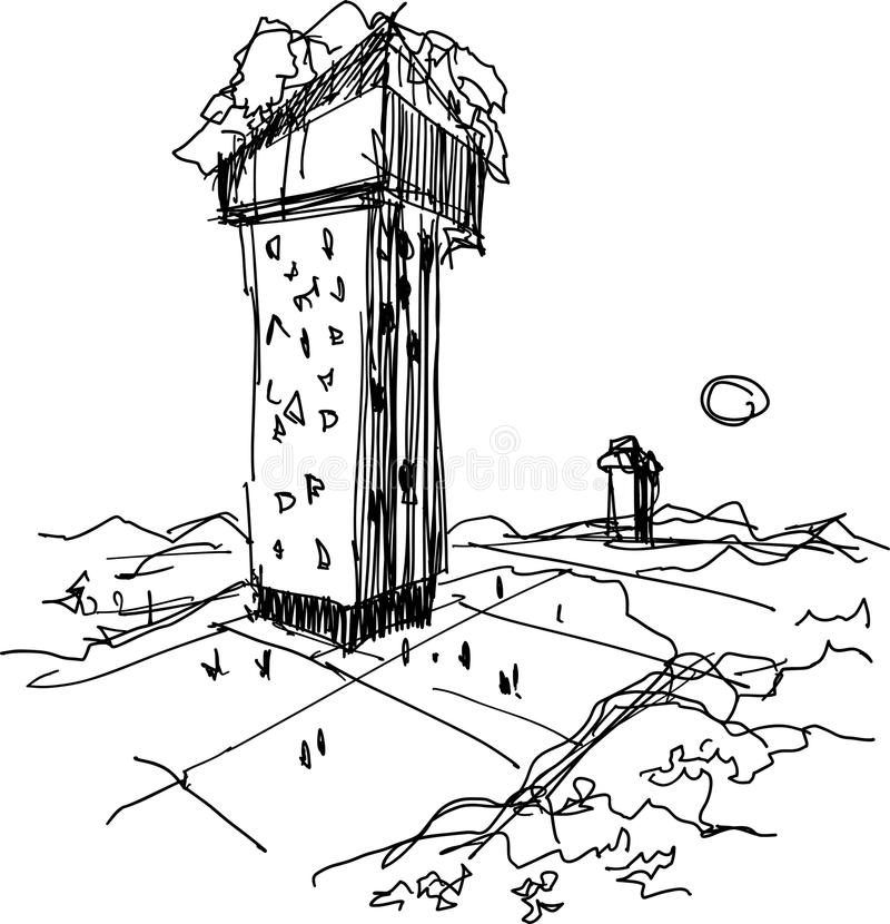 Übergeben Sie gezogene Illustration abstrat modernen futuristischen Gebäudes vektor abbildung