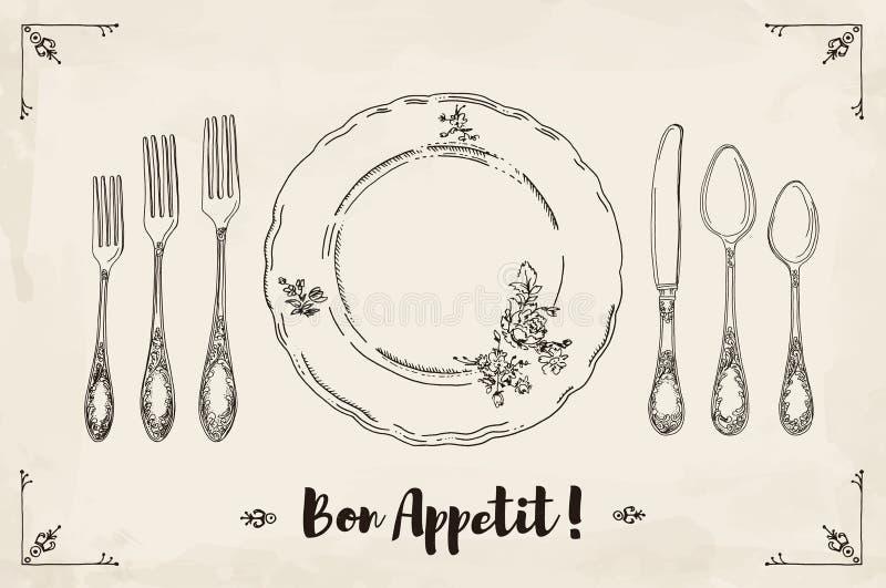 Übergeben Sie gezogene Illustration des gelockten dekorativen silbernen Geschirrs, überziehen Sie einen beige Aquarellhintergrund lizenzfreie abbildung