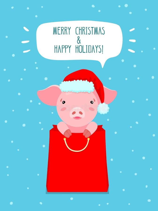 Übergeben Sie gezogene Illustration des netten rosa Schweins Sankt-` s in Hut und im roten Paket lizenzfreies stockbild