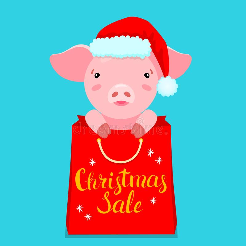 Übergeben Sie gezogene Illustration des netten rosa Schweins Sankt-` s in Hut und im roten Paket lizenzfreies stockfoto