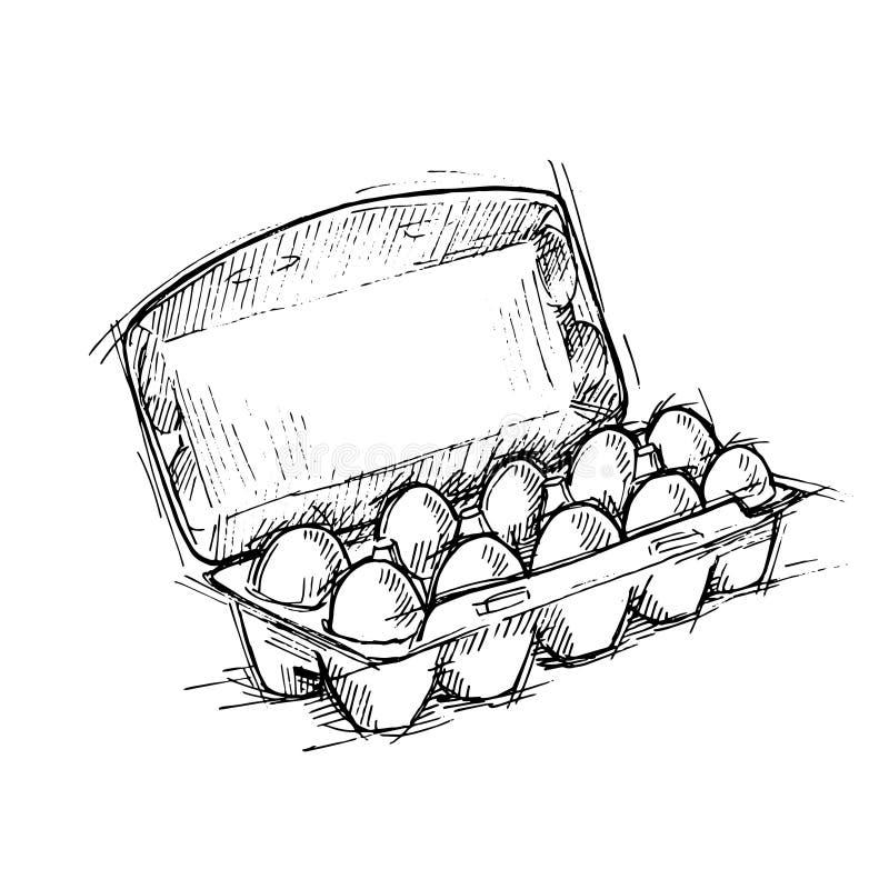 Übergeben Sie gezogene Illustration - Kasten Eier auf weißem Hintergrund Sketc vektor abbildung