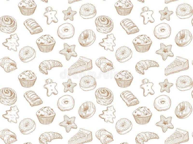 Übergeben Sie gezogene Illustration - nahtloses Muster mit Bonbon und Nachtisch Leckerer Hintergrund stockfotos