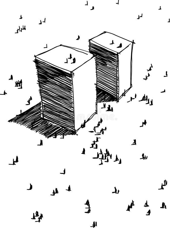 Übergeben Sie gezogene Illustration von abstrakten modernen futuristischen Gebäuden mit Leuten herum stock abbildung