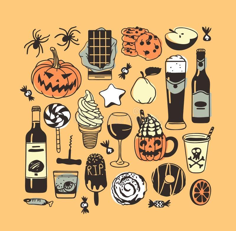 Übergeben Sie gezogene Illustrationssüßigkeit, Plätzchen, Kürbis, Eiscreme, Cocktail Kreatives Tintenkunstwerk Tatsächliches Vekt stock abbildung