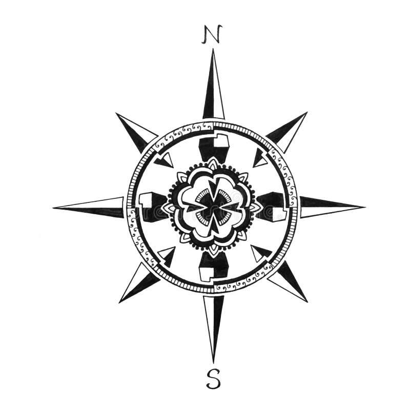 Übergeben Sie gezogene Kompassrose, Reiseferien oder erforschen Sie Symbol, Richtung auf Kartenikone stock abbildung