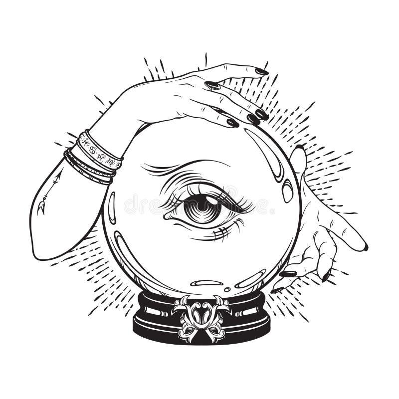 Übergeben Sie gezogene magische Glaskugel mit Auge der Vorsehung in den Händen des Wahrsagers Schicke Linie Kunsttätowierung Boho stock abbildung